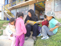 Elizabeth is reading a story for small children