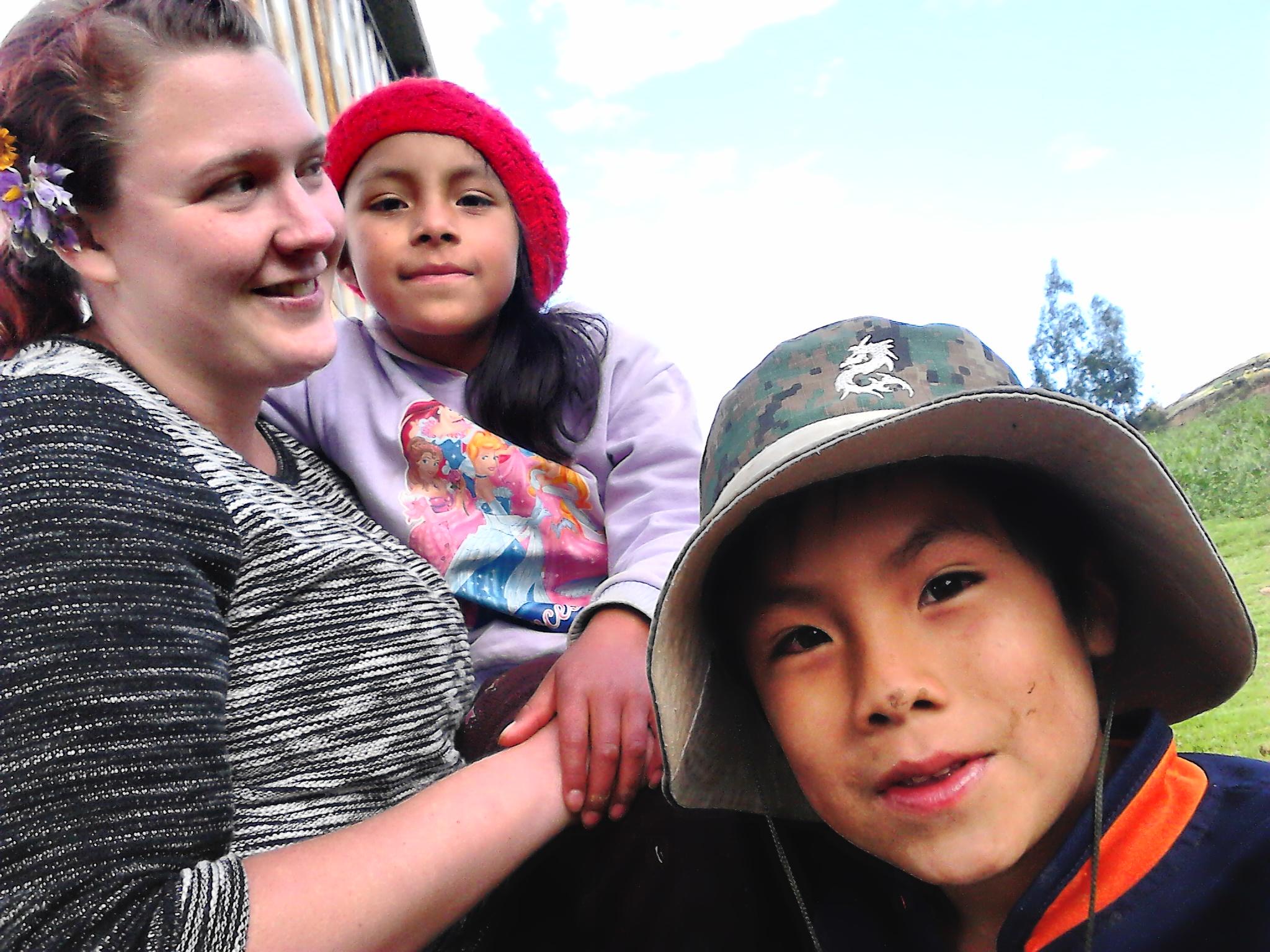 Malin, volunteer with children