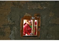 voluntario colocando ventana de familia