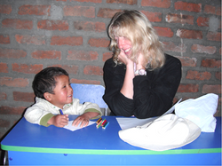 Irina teaching to Gabriel