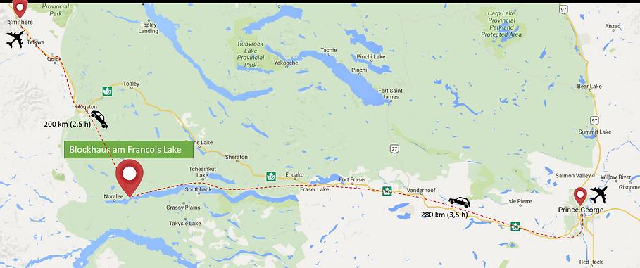 Noralee Kanada Anfahrt Francois Lake