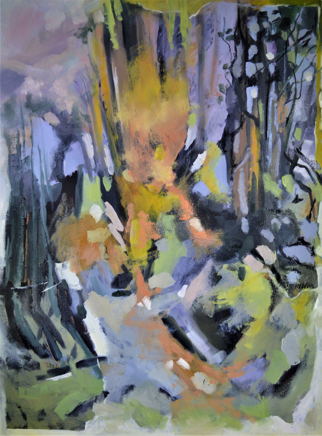 Forest Flames, oil on board
