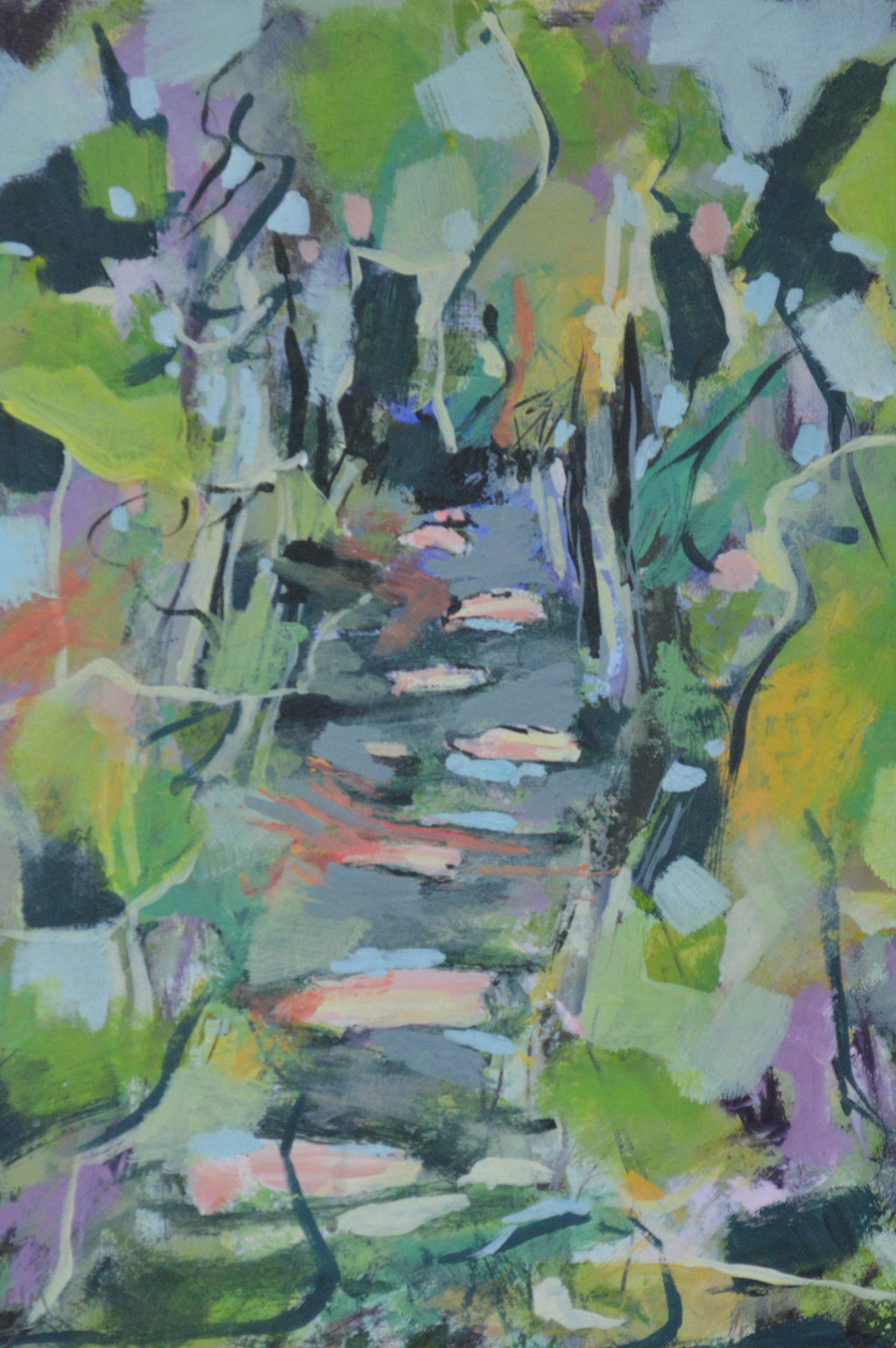 Pink Path, Hempsted Forest, oil on board