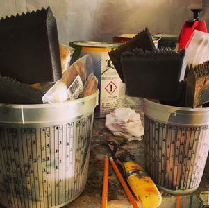 Handmade tools for a special mural project.