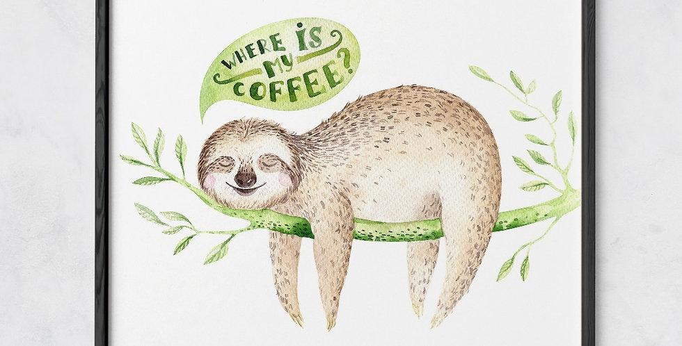 Sloth Coffee Print