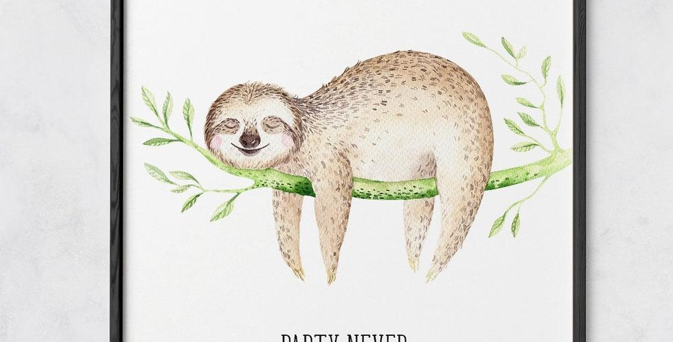Lazy Sloth Print