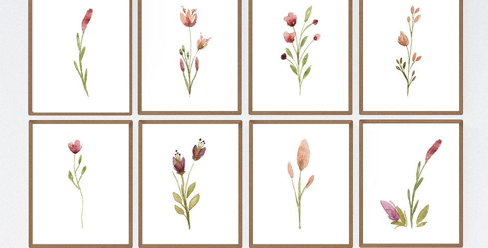 Watercolor Single Stem Flowers