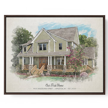 Framed Canvas House Portrait