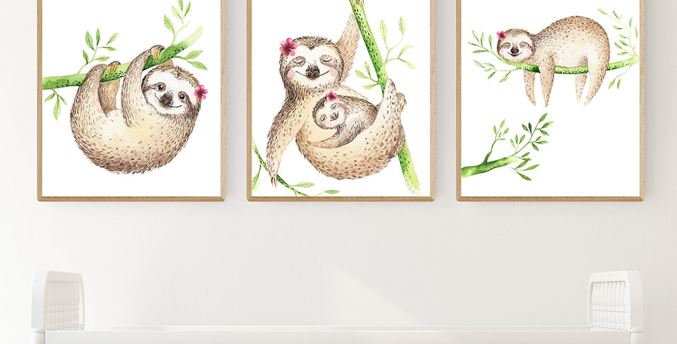 Tropical Sloths with Flowers