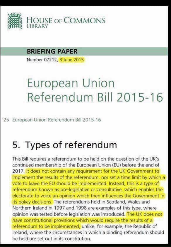 EU Referendm is advisory not mandatory.