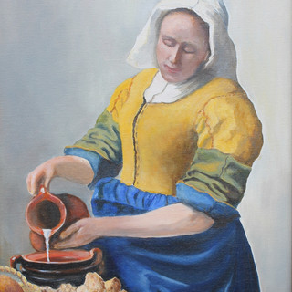 1717 The Milkmaid after Vermeer.sold.POW
