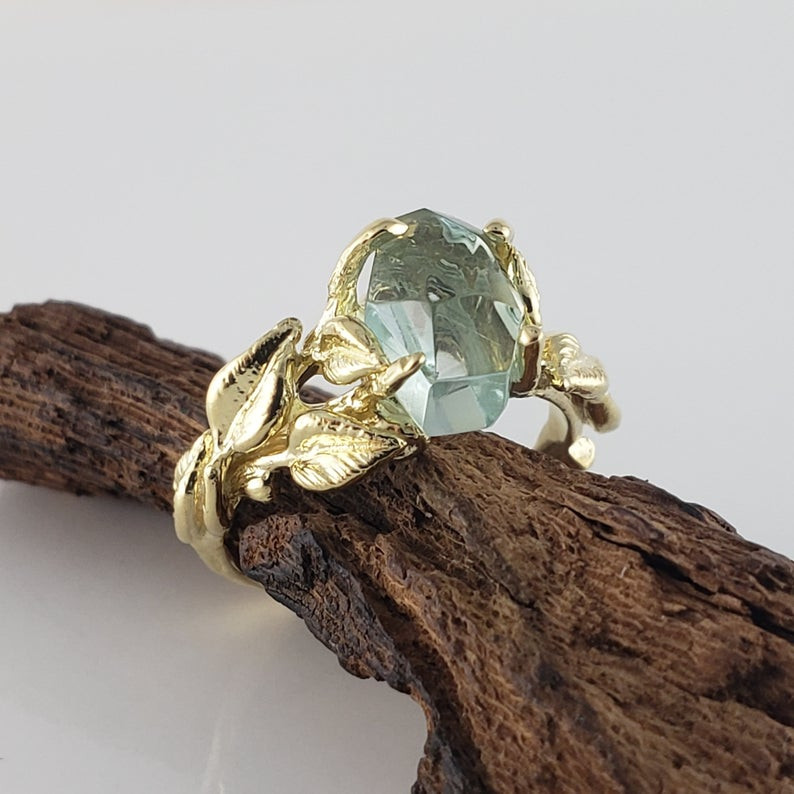 Leaf Gemstone Engagement Ring
