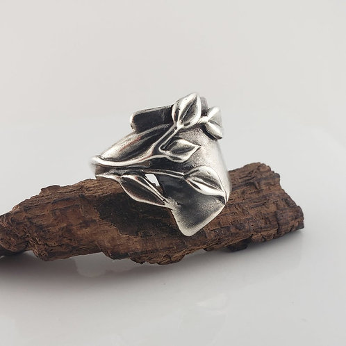 Wide Sterling Silver Band with Leaves with Light Oxidation