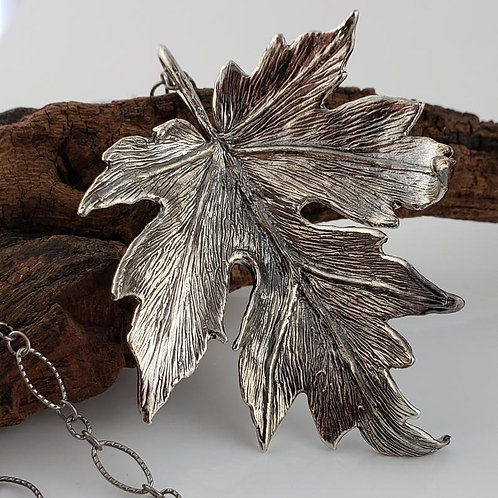 Sterling Silver Handmade Maple Leaf Necklace with Long Chain