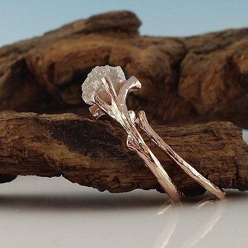 Raw Rough Diamond Twig Engagement Wedding Bridal Set - 14k Gold
