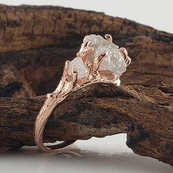 3 Rough Diamond Engagement Ring