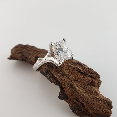 1.5ct Radiant Cut Moissanite Twig Ring