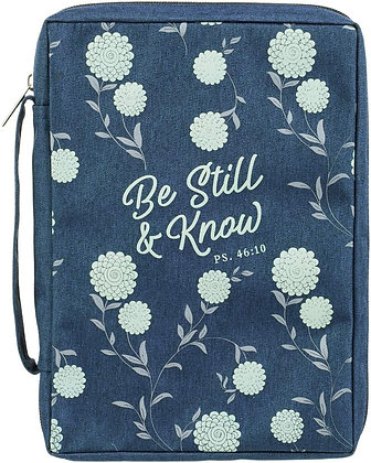 Be Still and Know Navy Poly-Canvas Bible Cover - Large