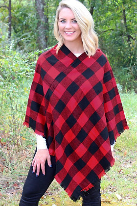 AT THE LODGE PONCHO-BLACK AND RED