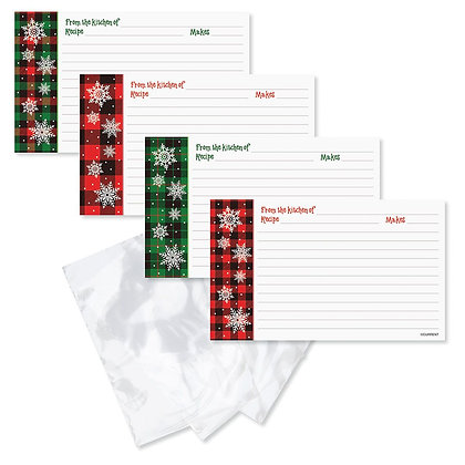 Christmas Plaid Christmas Recipe Cards with Plastic Sleeves- Set of 40