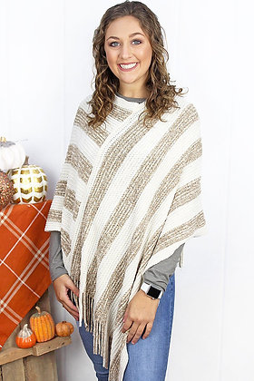 WEEKEND IN HAMPTON STRIPES PONCHO- TAUPE