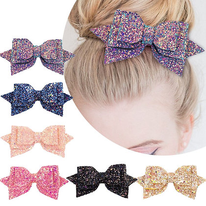 5 Inch Glitter Hair Bows Boutique Hair Clips - 6 Piece Set