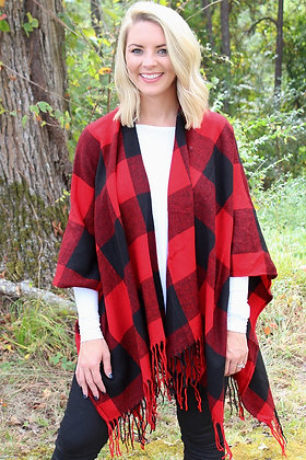 BE BOULDER PONCHO- RED