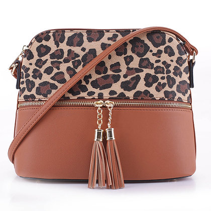 ​Leopard Print Bag - Tan