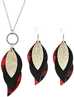 Buffalo Plaid with Gold Leaf Necklace and Earrings Set