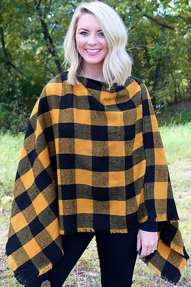 AT THE LODGE PONCHO- BLACK AND YELLOW
