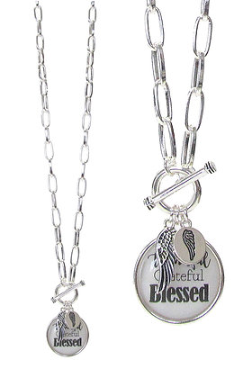 Thankful, Grateful, Blessed Necklace and Earrings Set