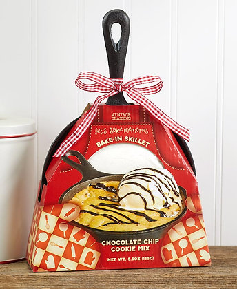 Cast Iron Skillet with Baking Mix -Chocolate Chip Cookie