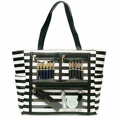 Canvas Display Bag with Clear Pockets Display Tote Bag - BLACK STRIPE