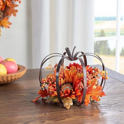 Harvest Gold Pumpkin Frame Floral Tabletop Decoration
