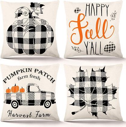 Autumn Farmhouse Buffalo Plaid Pillow Cover