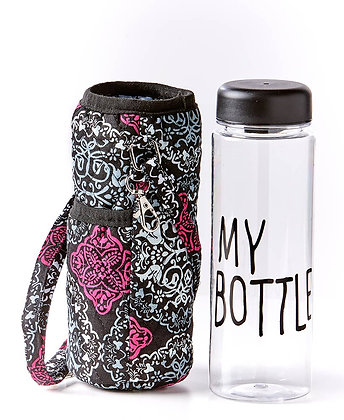 Quilted Water Bottle Carrier with Bottle -MEDALLION