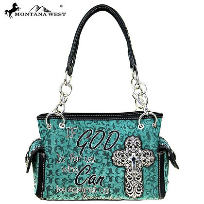 Montana West Scripture Bible Collection Satchel Bag - Turquoise