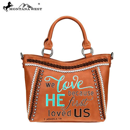 Montana West Scripture Bible Verse Collection Tote Purse - Brown