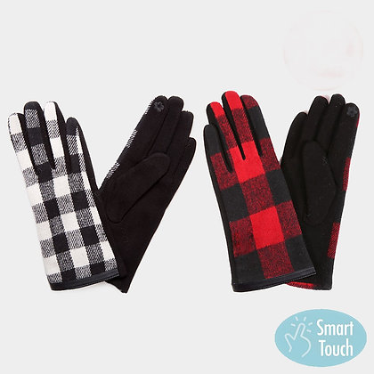 BUFFALO CHECK SMART TOUCH GLOVES  - RED and BLACK