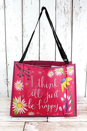 JUST BE HAPPY WIDE TOTE BAG