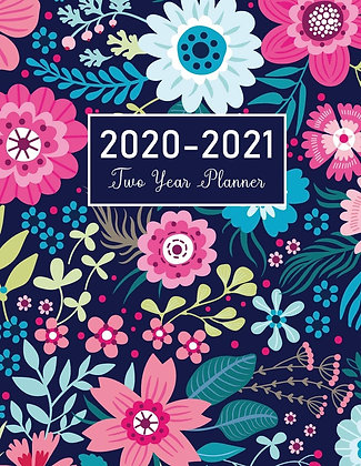 2020-2021 Two Year Planner: Flower Watercolor
