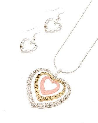 ​Tri Tone Heart Necklace & Earring Set