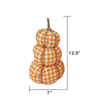 Harvest Plaid Stacked Fabric Pumpkins - Orange and White Buffalo Plaid