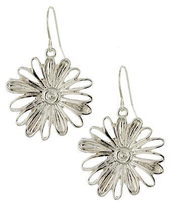 Metal Flower Earrings - Silvertone
