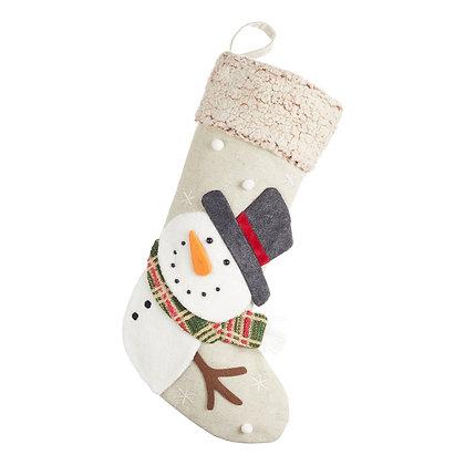 Snowman Linen Christmas Stocking