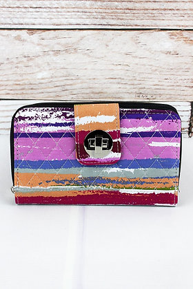 LAVENDER STRIPES ORGANIZER CLUTCH WALLET​