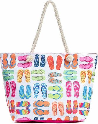 Large Beach Tote Bag - Flip Flops