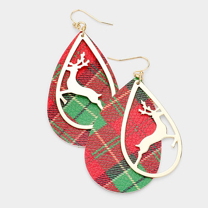METAL RUDOLPH PLAID CHECK PRINT LEATHER EARRINGS
