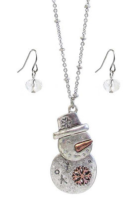 Snowman Necklace and Earrings Set