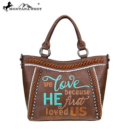Montana West Scripture Bible Verse Collection Tote Purse - Coffee